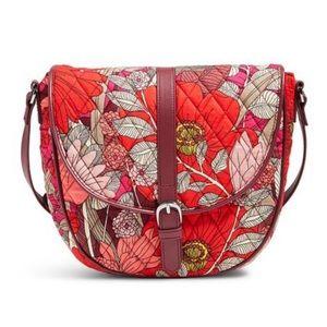 Vera Bradley slim saddle bag in bohemian blooms